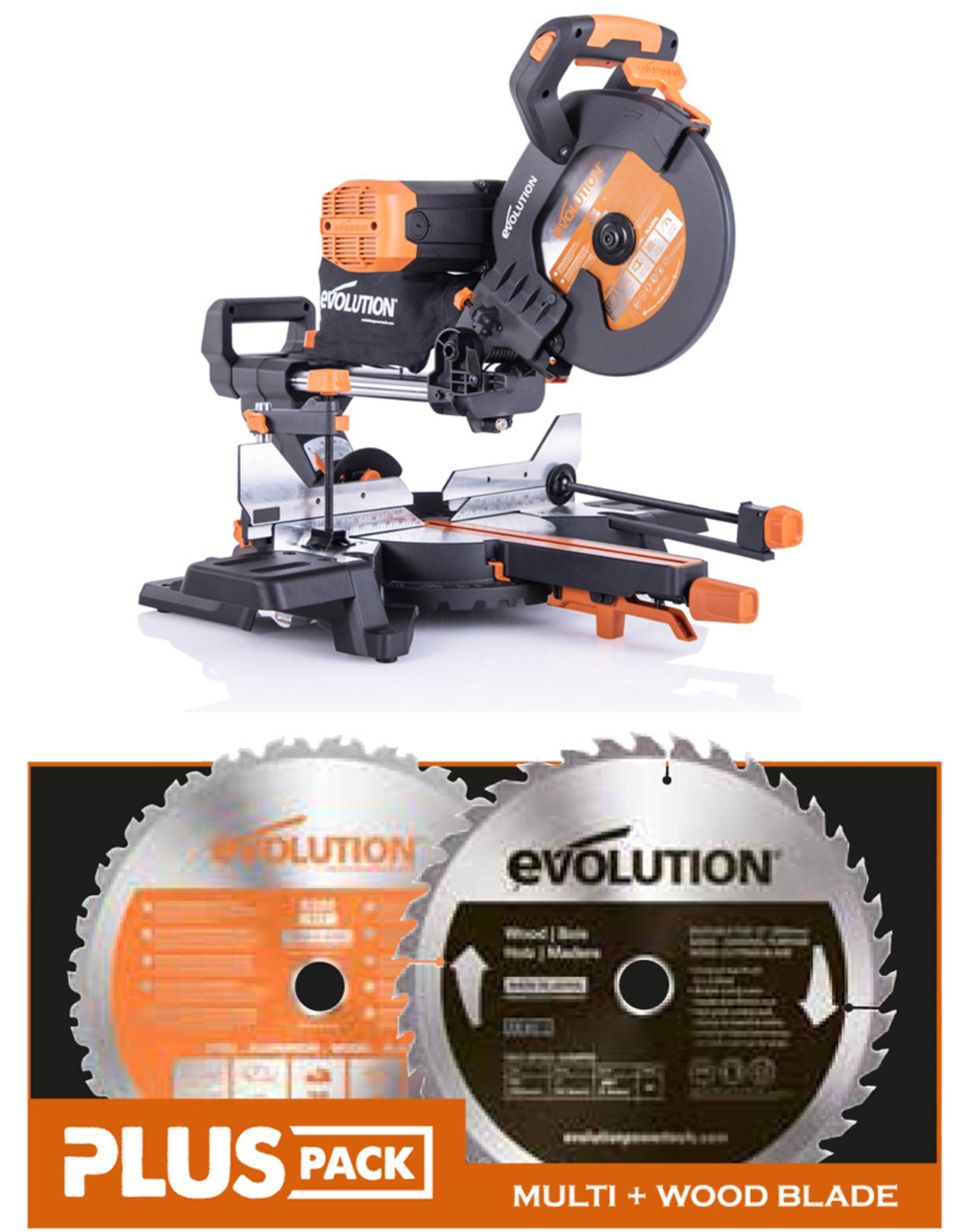 Evolution Power Tools Build Line SCIE A ONGLET RAGE R255SMS-DB+ + LAME GRATUITE POUR BOIS