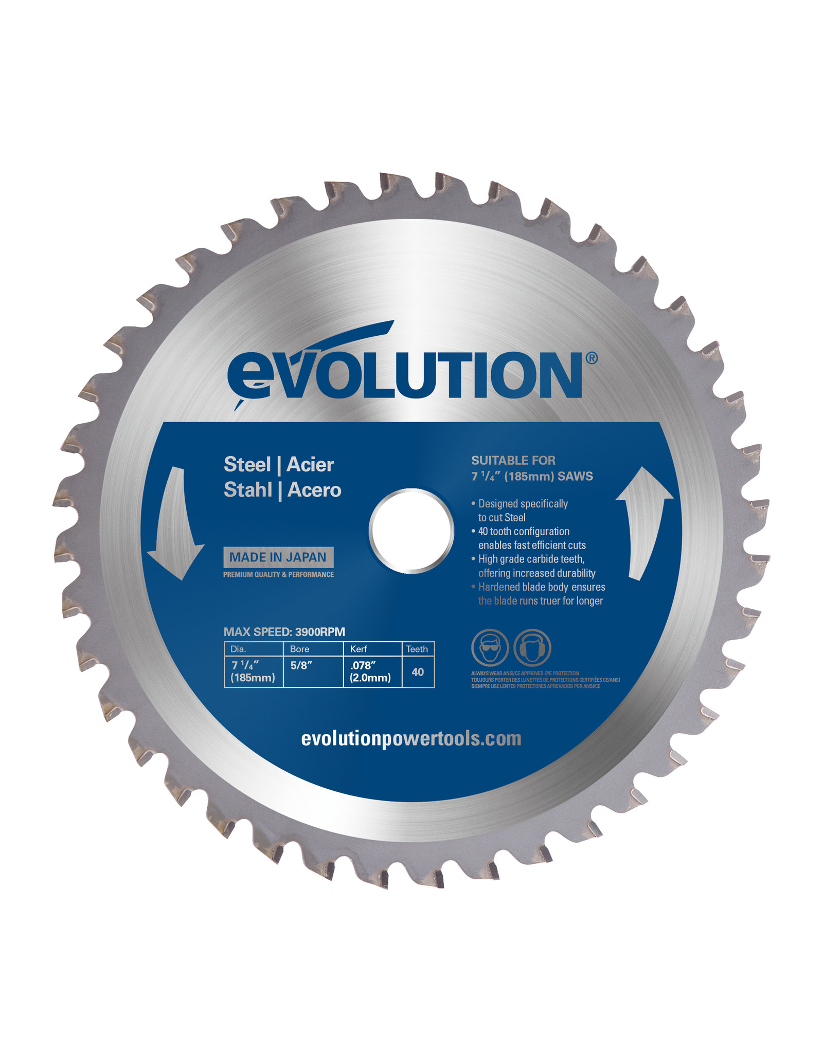 Evolution Power Tools Steel Line LAME ACIER 185 MM