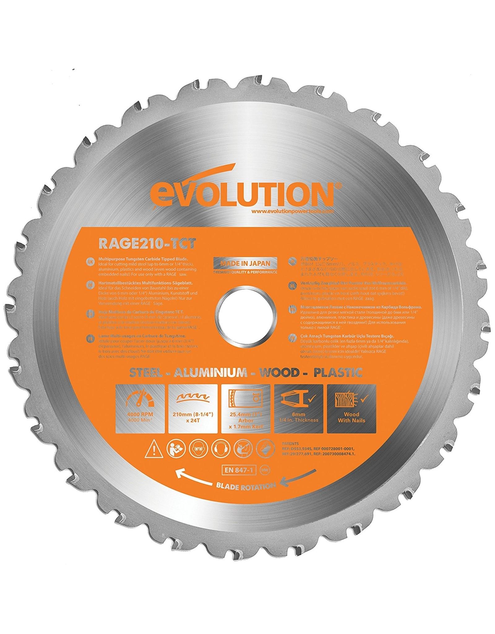 Evolution Power Tools Build Line MULTI-MATERIAL GEHRUNGSSÄGE RAGE R210 CMS + MULTI-MATERIAL TCT-KLINGE RAGE 210 MM + DIAMANTKLINGE RAGE 210 MM