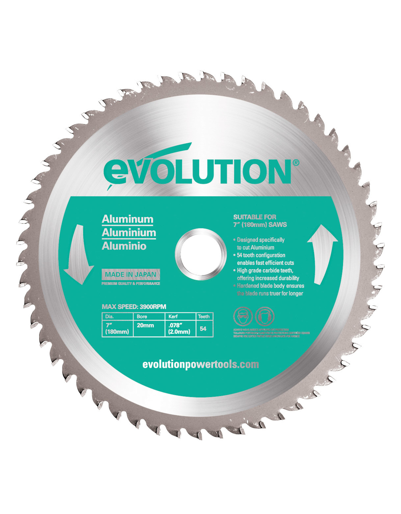 Evolution Power Tools Steel Line ZAAGBLAD ALUMINIUM 185 MM
