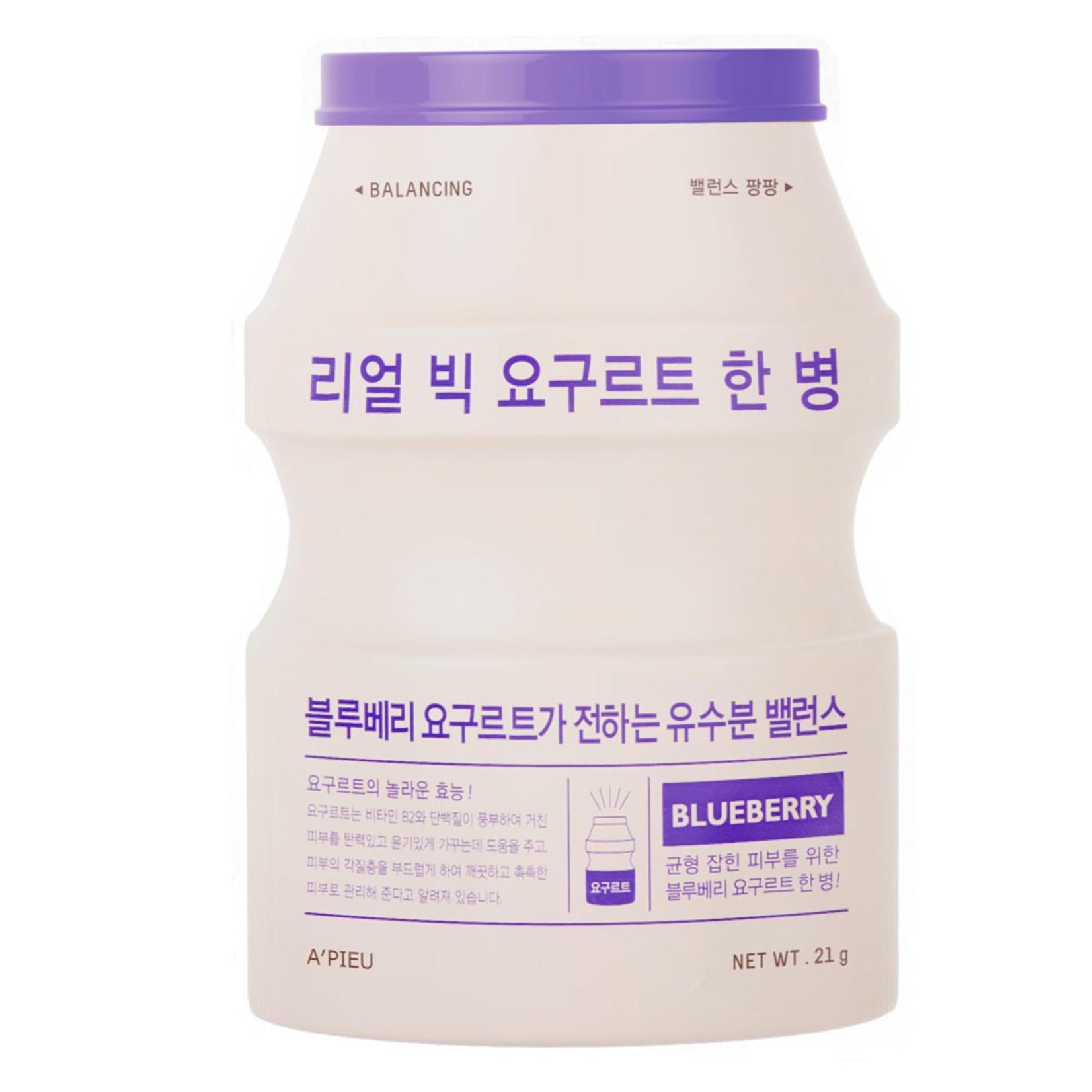 A'pieu Real Big Yoghurt Blueberry Sheet Mask 10pcs