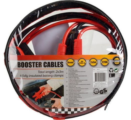 Discountershop 2x Jumpstart auto cables - 3 meters - 16mm - 220A