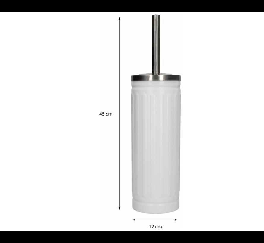 White Unbreakable Stainless Steel Toilet Brush Holder with Toilet Brush - 45x12cm - Matt White | Durable Matte White Stainless Steel Matte Brush Holder with WC Brush | Toilet Brush in Round Holder