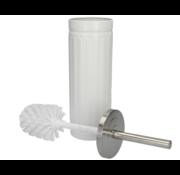 Discountershop White Unbreakable Stainless Steel Toilet Brush Holder with Toilet Brush - 45x12cm - Matt White