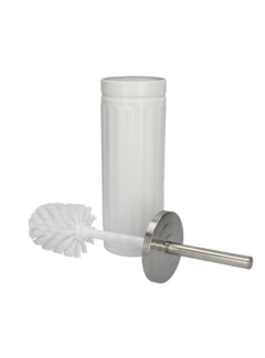 Discountershop Witte Onbreekbare Roestvrijstalen Toiletborstelhouder met Toiletborstel - 45x12cm - Mat Wit