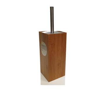 Discountershop WC Bamboo Toilet Brush Holder with WC Brush Holder - Wooden Brush Holder