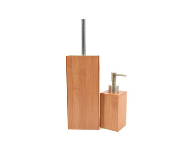 Discountershop Bamboo toilet brush with soap dispenser
