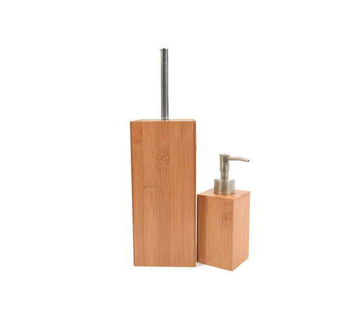 Discountershop  Bamboo toilet brush holder with soap dispenser