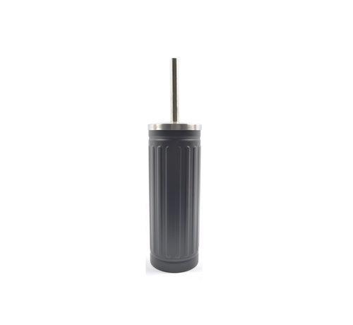 Discountershop Grey Unbreakable Stainless Steel Toilet Brush Holder with Toilet Brush - 45x12cm - Matt Grey