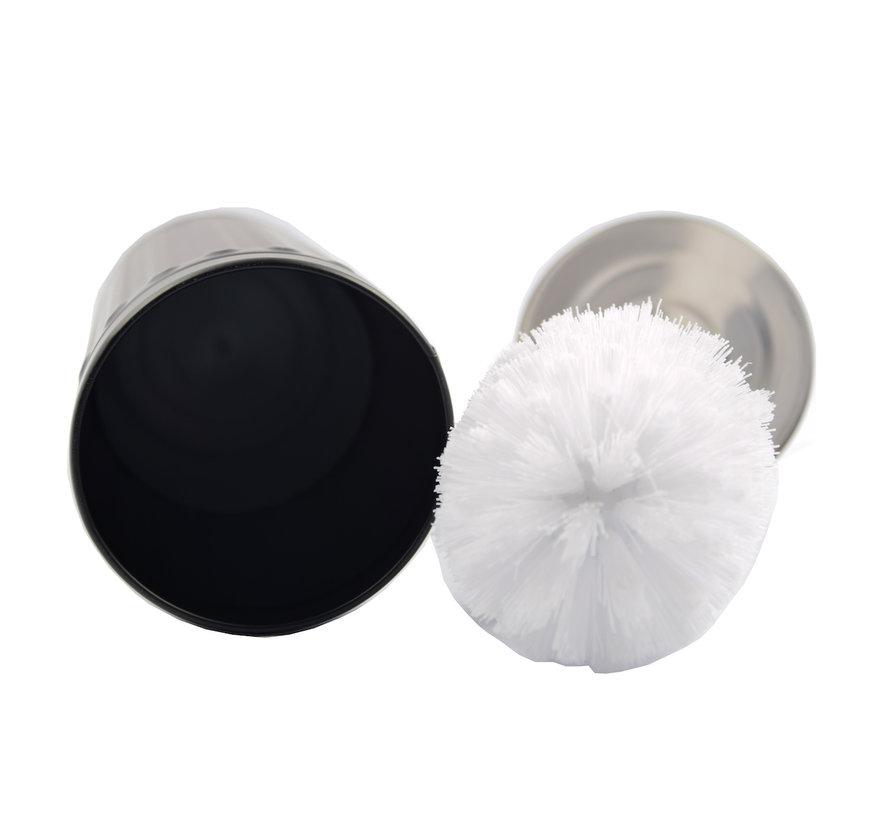 Grey Unbreakable Stainless Steel Toilet Brush Holder with Toilet Brush - 45x12cm - Matt Grey