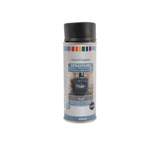 Discountershop Spray paint | Spray paint | Aerosol | Matte Black | Heat resistant | 400ml