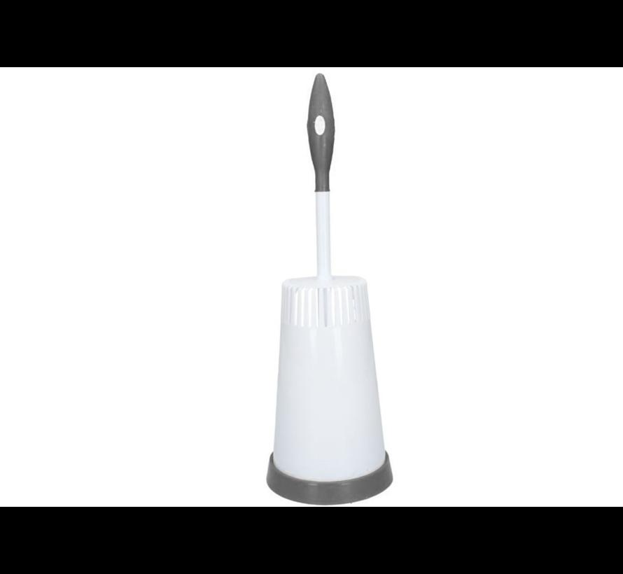 Plastic Toiletborstelhouder met Onderkant – 40x15cm | Borstel Houder met WC Borstel | Toilet Borstel in Ronde Houder - Wit en Grijs