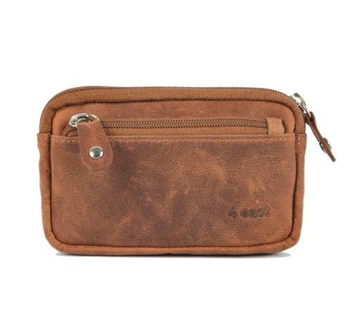4East Sleuteletui portemonnee - portemonnee etui - ring portemonnee - pasjeshouder met rits - rits portemonnee - 3 ritsen portemonnee - buffelleer portemonnee