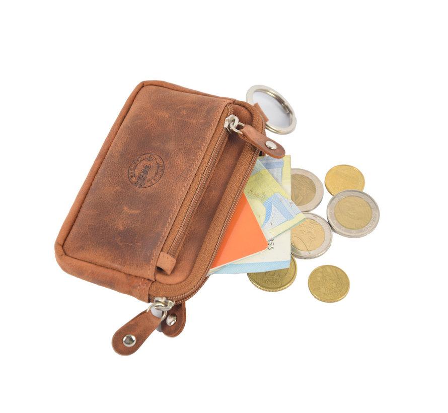 Sleuteletui portemonnee - portemonnee etui - ring portemonnee - pasjeshouder met rits - rits portemonnee - 3 ritsen portemonnee - buffelleer portemonnee