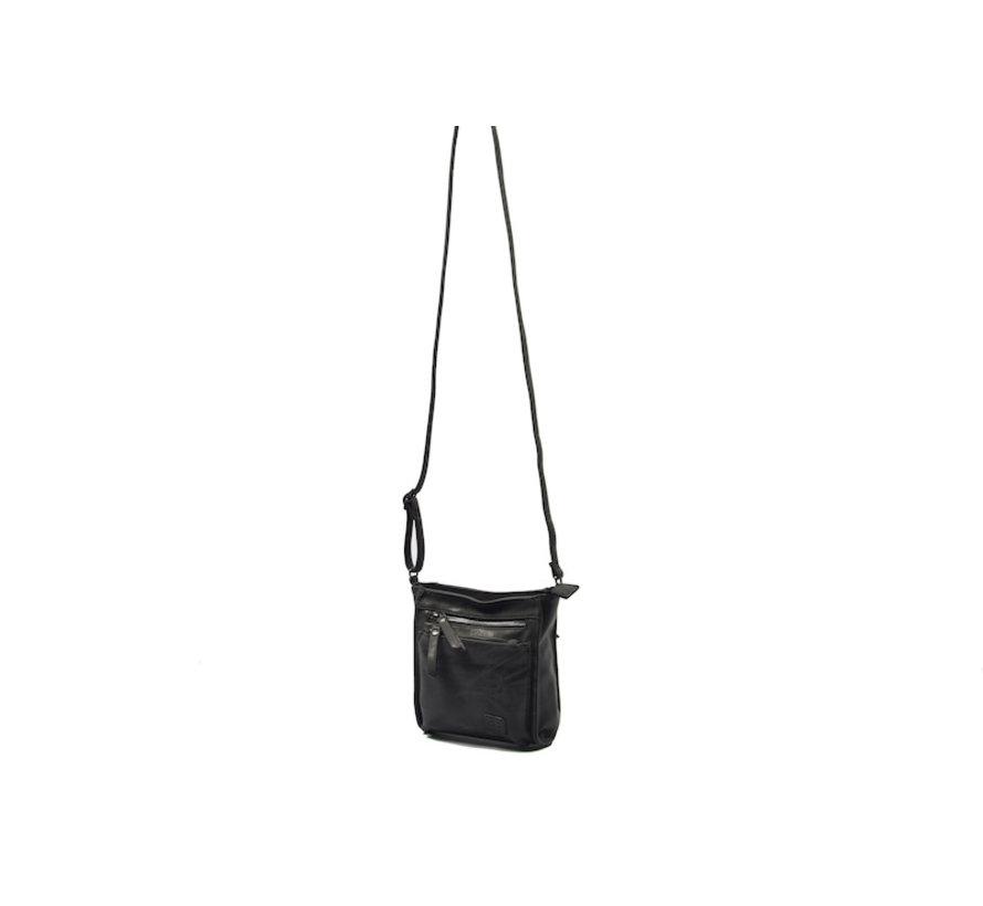 Bicky Bernard Shoulder Bag Black with 5 zippers - bag - bags - ladies shoulder bag - handbag - Black shoulder bag - girls shoulder bag -
