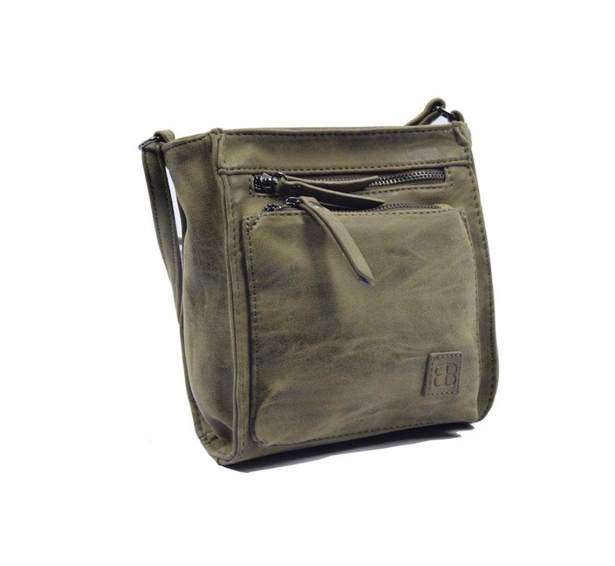 Bicky Bernard Shoulder Bag Olive with 5 zippers - bag - bags - ladies shoulder bag - handbag - Olive shoulder bag - girls shoulder bag -