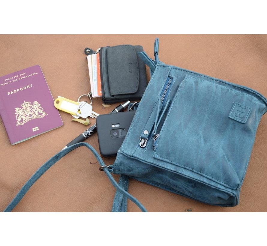 Bicky Bernard Schoudertas Donker blauw met 5 ritsen - tas - tassen - schoudertas dames - handtas - Donker blauw  schoudertas - schoudertas meiden -