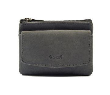 4East Sleuteletui portemonnee - portemonnee etui - ring portemonnee - pasjeshouder met rits - rits portemonnee - 3 ritsen portemonnee - buffelleer portemonnee - portemonnee met 4 vakken