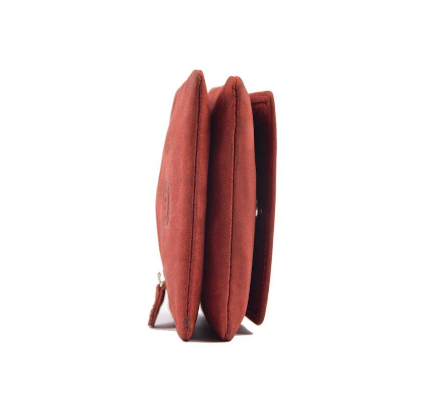 Sleuteletui portemonnee - portemonnee etui - ring portemonnee - pasjeshouder met rits - rits portemonnee - 3 ritsen portemonnee - buffelleer portemonnee - portemonnee met 4 vakken