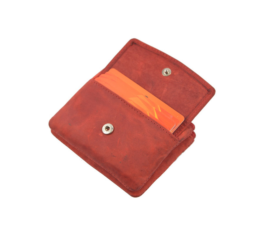 Key pouch wallet - wallet pouch - ring wallet - card holder with zipper - zipper wallet - 3 zipper wallet - buffalo leather wallet - wallet with 4 compartments