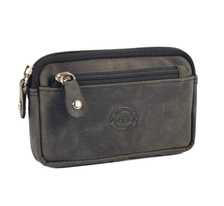 Sleuteletui portemonnee - portemonnee etui - ring portemonnee - pasjeshouder met rits - rits portemonnee - 3 ritsen portemonnee - buffelleer portemonnee -