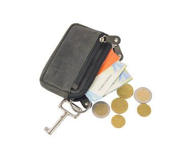 4East Sleuteletui portemonnee - portemonnee etui - ring portemonnee - pasjeshouder met rits - rits portemonnee - 3 ritsen portemonnee - buffelleer portemonnee -