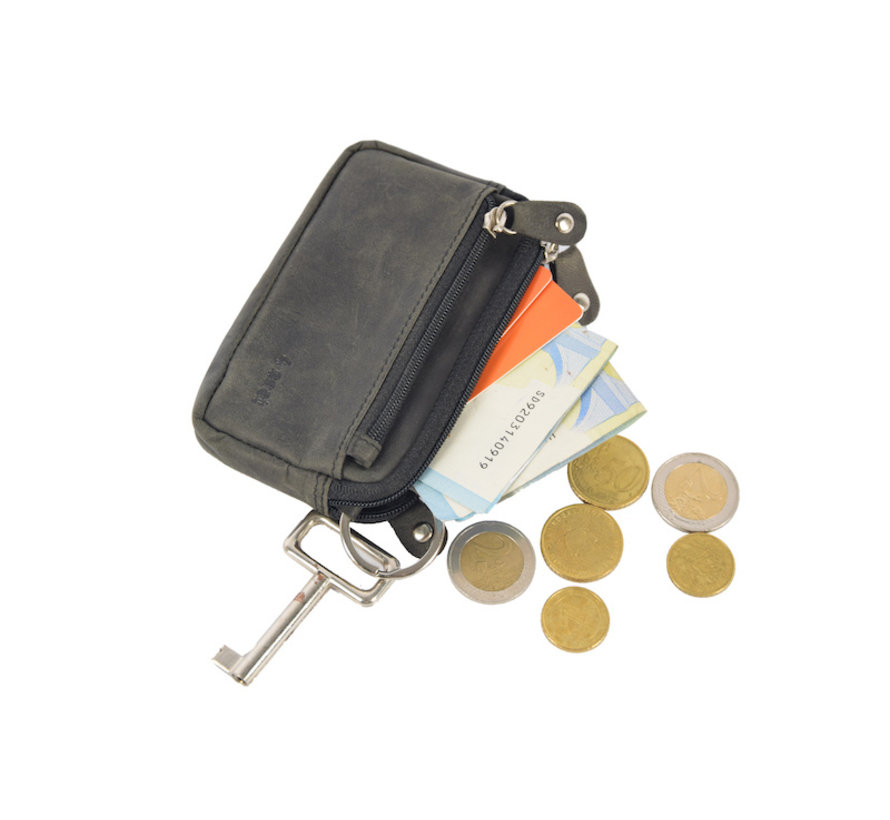 Key pouch wallet - wallet pouch - ring wallet - card holder with zipper - zipper wallet - 3 zipper wallet - buffalo leather wallet -