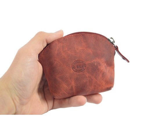4East Portemonnee - vakantie portemonnee - Compact portemonnee - Buffelleer portemonnee - Kleine portemonnee - Portemonnee - Ronde portemonnee
