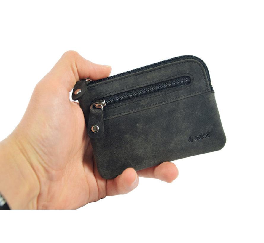 Sleuteletui portemonnee - portemonnee etui - ring portemonnee - pasjeshouder met rits - rits portemonnee - 2 ritsen portemonnee - buffelleer portemonnee