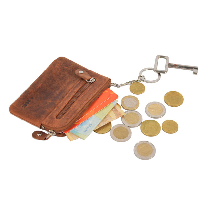 Key pouch wallet - wallet pouch - ring wallet - card holder with zipper - zipper wallet - 2 zipper wallet - buffalo leather wallet