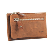 4East Wallet anti-skim - Wallet buffalo leather - Wallet with 10 cards - Small wallet - wallet compact Cognac - RFID