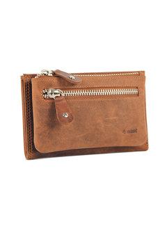 4East Portemonnee anti-skim - Portemonnee buffelleer - Portemonnee met 10 pasjes - Kleine portemonnee - portemonnee compact Cognac - RFID