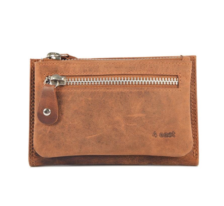 Portemonnee anti-skim - Portemonnee buffelleer - Portemonnee met 10 pasjes - Kleine portemonnee - portemonnee compact Cognac - RFID