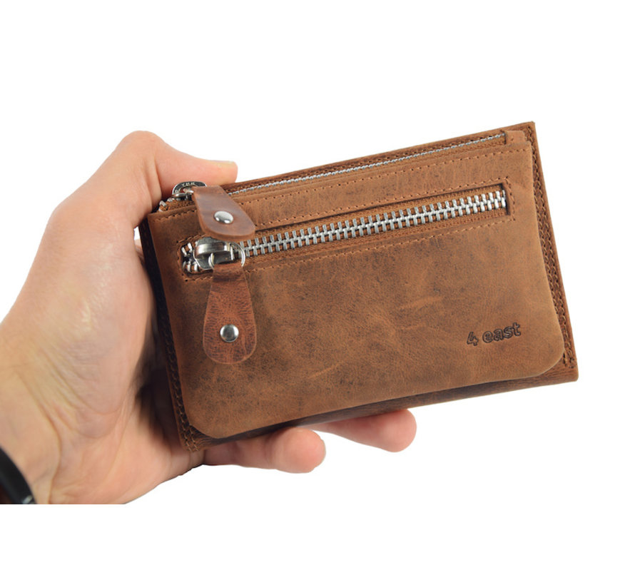 Wallet anti-skim - Wallet buffalo leather - Wallet with 10 cards - Small wallet - wallet compact Cognac - RFID
