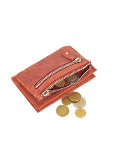 4East Portemonnee anti-skim - Portemonnee buffelleer - Portemonnee met 10 pasjes - Kleine portemonnee - portemonnee compact Rood - RFID