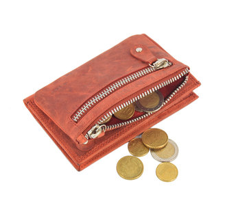4East Wallet anti-skim - Wallet buffalo leather - Wallet with 10 cards - Small wallet - wallet compact Red - RFID