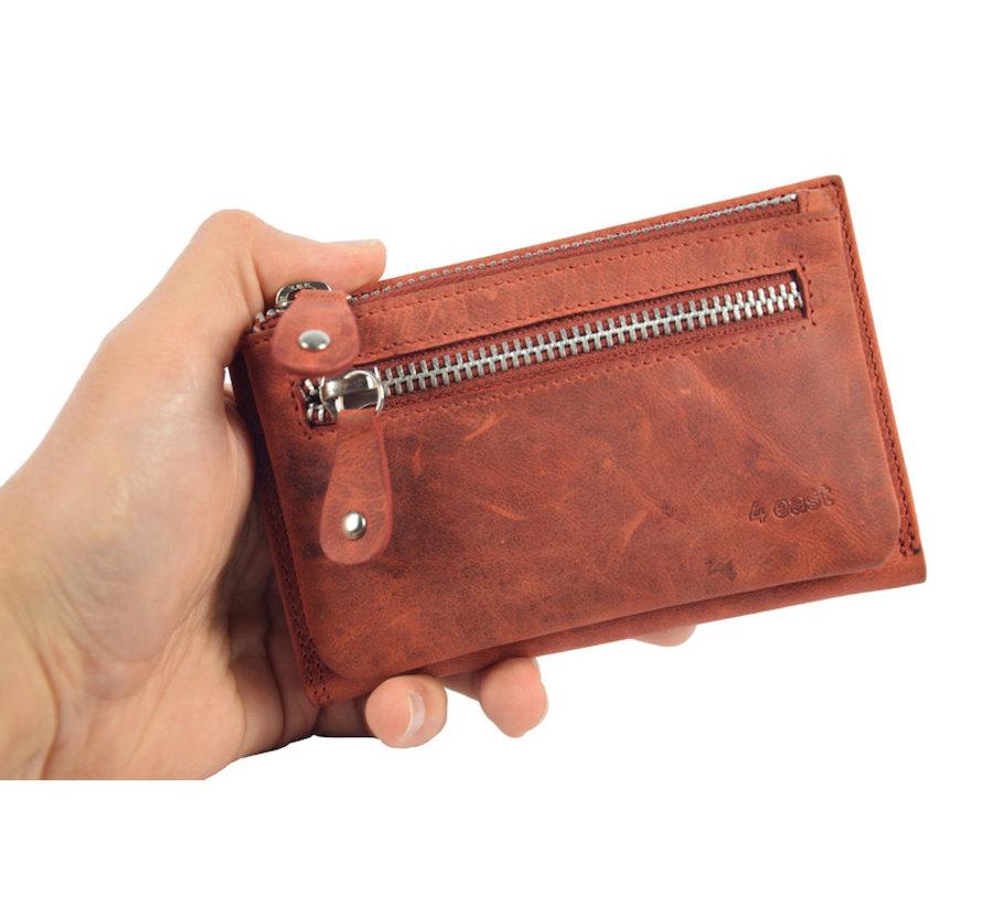 Portemonnee anti-skim - Portemonnee buffelleer - Portemonnee met 10 pasjes - Kleine portemonnee - portemonnee compact Rood - RFID