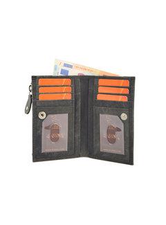 4East Portemonnee anti-skim - Portemonnee buffelleer - Portemonnee met 10 pasjes - Kleine portemonnee - portemonnee compact Zwart - RFID