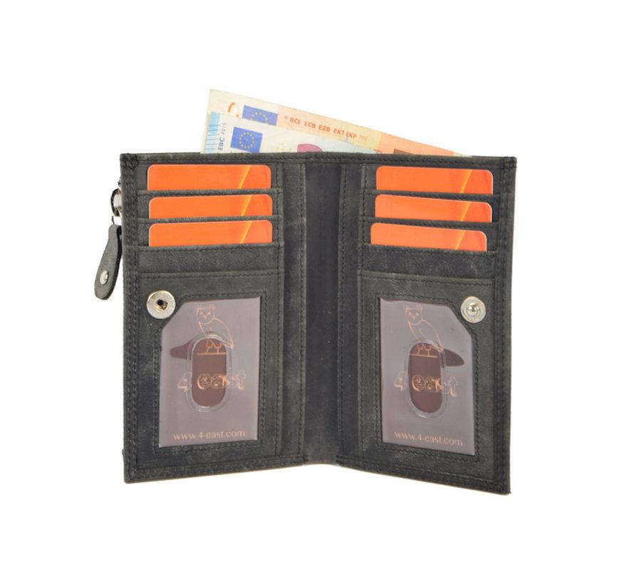 Anti-skim wallet - buffalo leather - black