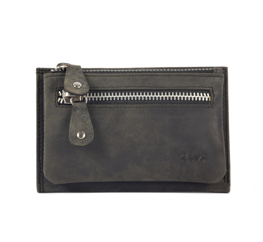 Wallet anti-skim - Wallet buffalo leather - Wallet with 10 cards - Small wallet - wallet compact black - RFID