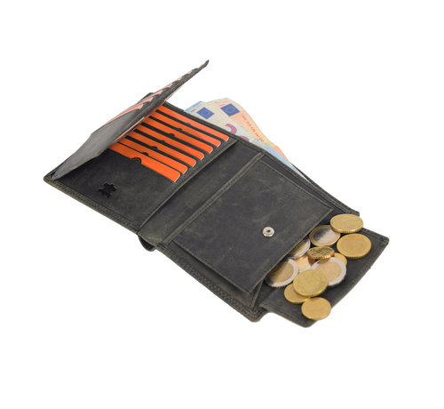 4East Wallet with lots of card space - 14 cards - Men's wallet - double stitched wallet - Buffalo leather wallet - Buffalo leather - billfold wallet - RFID