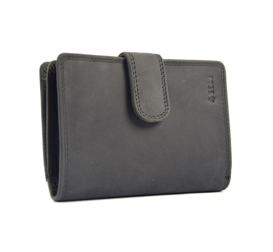 Portemonnee anti- skim - buffelleer - zwart  4East