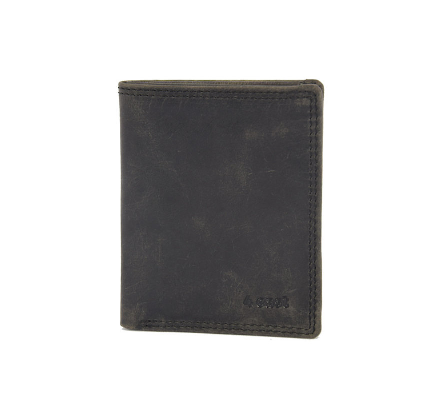 pasjes-mapje/portemonnee zwart buffelleer 4East