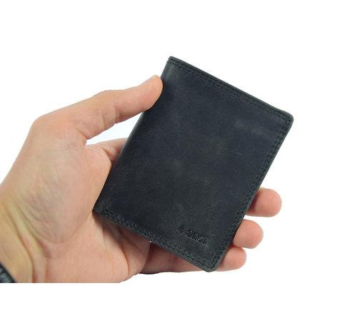 4East pasjes-mapje/portemonnee zwart buffelleer 4East