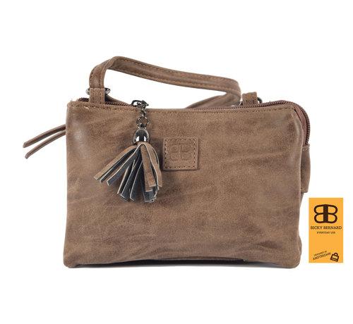 Bicky Bernard Bag - bags - bags - Bag- Bicky Bernard- Harmonica 3-Pouch bag - shoulder bag - crossbody bag - Brown- Brown