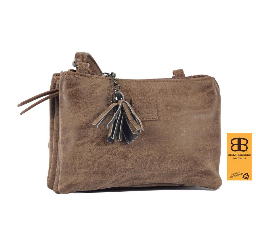 Tas - tasssen - bags - Bag- Bicky Bernard- Harmonica 3-Vaks tasje - schoudertasje - crossbody tasje - Bruin- Brown