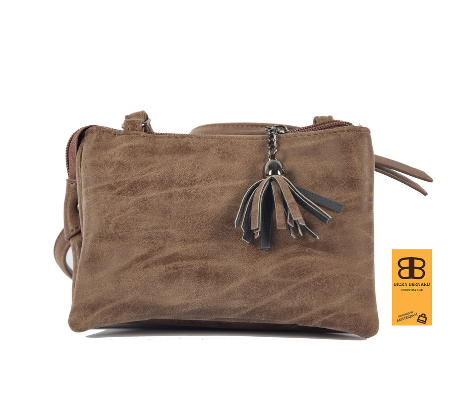 Bag - bags - bags - Bag- Bicky Bernard- Harmonica 3-Pouch bag - shoulder bag - crossbody bag - Brown- Brown