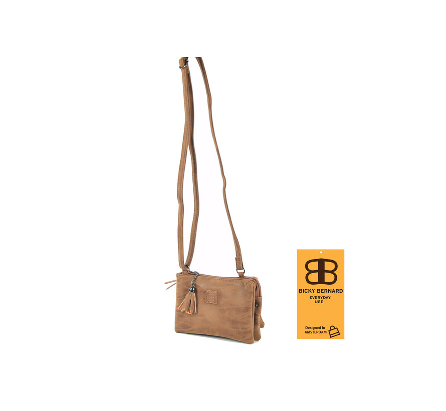 Bicky Bernard shoulder bag Harmonica 3 compartment cognac bag with 3 main compartments