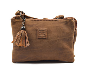 Bicky Bernard Bicky Bernard shoulder bag Harmonica 3 compartment cognac bag with 3 main compartments