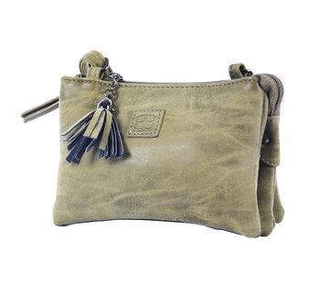 Bicky bernard Tas - tasssen - bags - Bag- Bicky Bernard- Harmonica 3-Vaks tasje - schoudertasje - crossbody tasje - Olivegroen